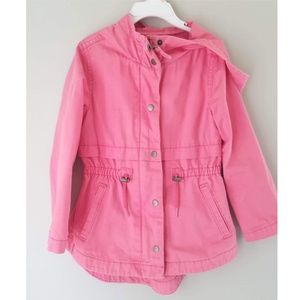 Girls Old Navy XS (5) pink canvas hooded coat